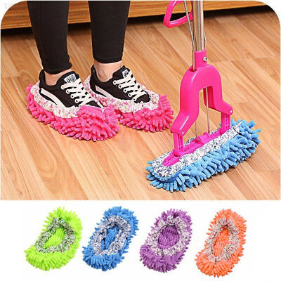 ED6F 1Pair Floor Cleaning Mop Cleaner Slipper Removable Washable Dust Cleaner