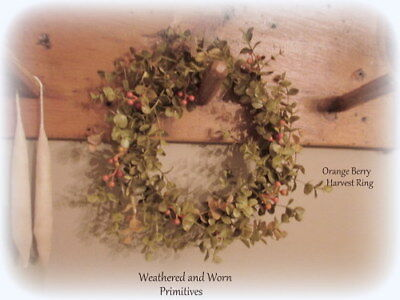 "Primitive Country Christmas & Fall Orange Berry 11"" Candle Ring Mini Wreath"