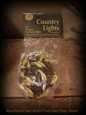 Primitive Farmhouse Set of 50 Silicone Christmas Tree Lights with Brown Cord