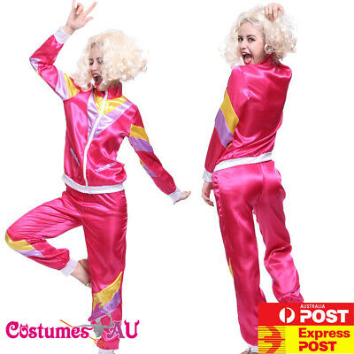 Ladies 80s Retro Neon Tracksuit Height Of Fashion Pink Costume 1980s Shell Suit