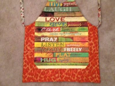 Apron. Handmade. Reversible. One size. New. So pretty! Encouragement words