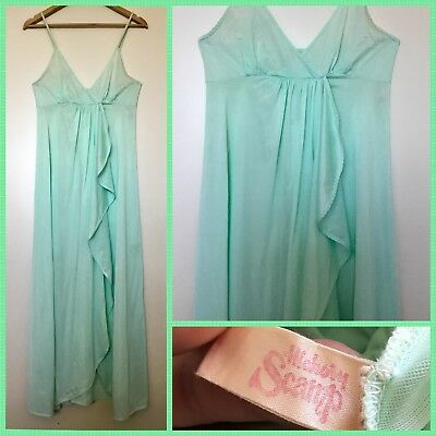 VINTAGE 70's Retro HICKORY SCAMP Spearmint Green NEGLIGEE NIGHTGOWN 14