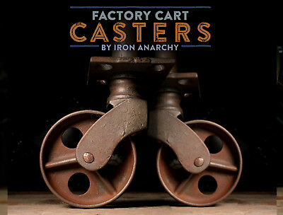Vtg FACTORY CART END CASTERS, Atq Cast Iron Industrial Coffee Table Metal Wheel