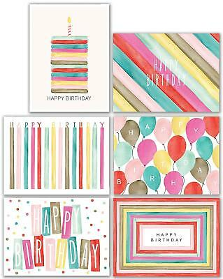 Watercolor Bulk Birthday Cards Assortment 48pc Happy CardEnvelopes Box