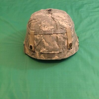 MSA Army Advanced Combat Helmet W/ACU Cover LARGE Military W/Pads USED~#S2