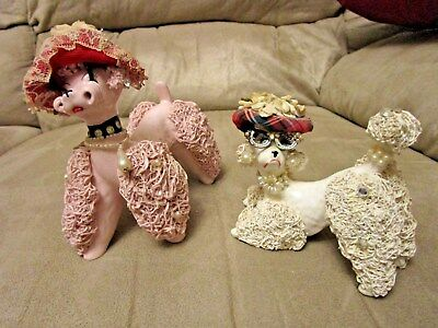 2 Vintage Spaghetti  Poodle Dog Figurine Rhinestone Cat Glasses Flower Hat Wales