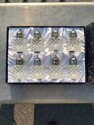 8 F.b Rogers Silver Plate Crystal Individual Salt And Pepper Shakers Not Cellars