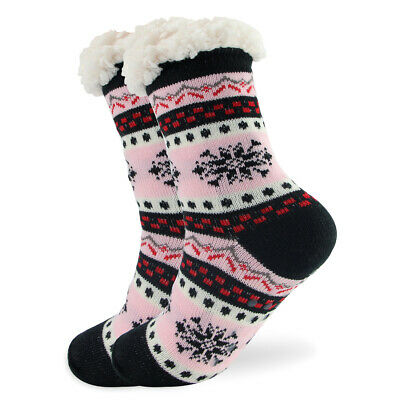 Women Socks Thick Knit Sherpa Lined Thermal Fuzzy Slipper Christmas 6-11