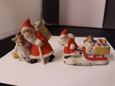 Vtg German bisque Santa toys Angel Sleigh Christmas Miniature Figurines Germany