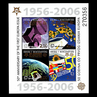 Bosnia 2006 - 50th Anniv of the First Europa Stamps Flags Art - Sc 151a MNH