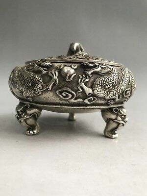 Chinese pure copper incense burner hand-carved dragon pattern design m.161