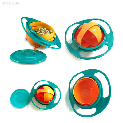 C5F6 Feeding Toddler Gyro Bowl 360 Rotate w/ Lid Cup Baby Kid Avoid Food Spill,