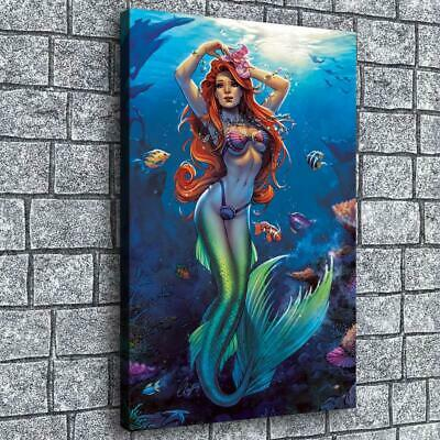 """12""""x18""""Elias Mermaid art HD Canvas Paintings Home decor Picture Wall art Poster"""