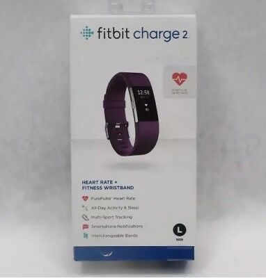 NEW Fitbit Charge 2 Heart Rate Fitness Wristband Plum Large