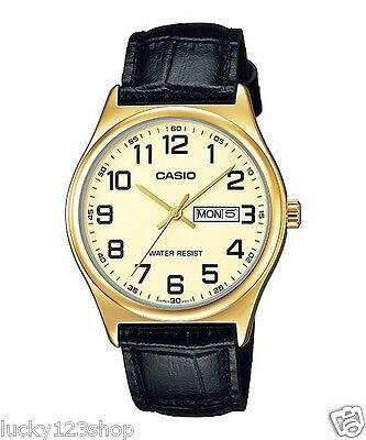 MTP-V003GL-9B Gold Casio Men's Watch Genuine Leather Band Water Resistant New