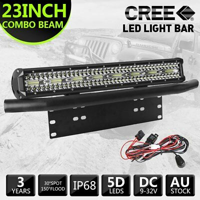 23inch CREE LED Light Bar Tri Row Combo + 23'' Number Plate Frame Mount Bracket