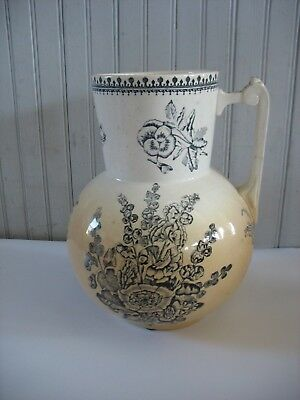 LRG Ironstone Pottery Blue & white Transferware Foxgloves wash basin pitcher 11""