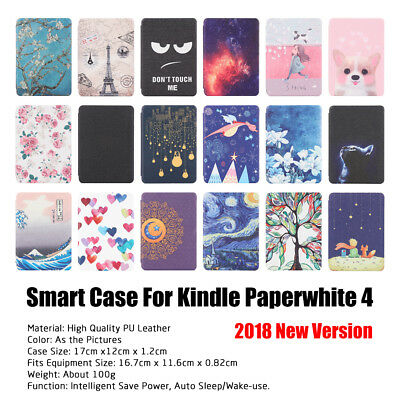 Smart Wake Slim PU Leather Case Painted Cover for Amazon Kindle Paperwhite 4