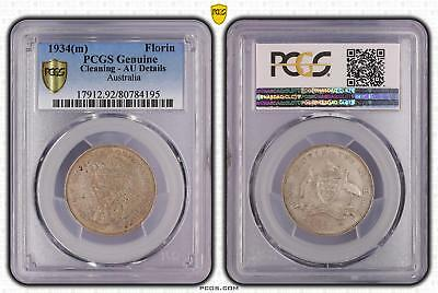 1934m Australia Florin 2/- PCGS GRADED - Cleaned - 195
