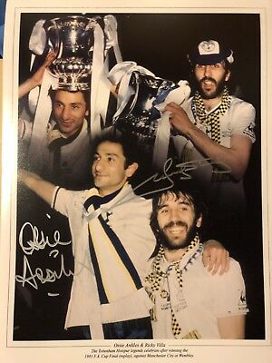 Ricky Villa And Ossie Ardiles Dual Signed Spurs Photo Montage