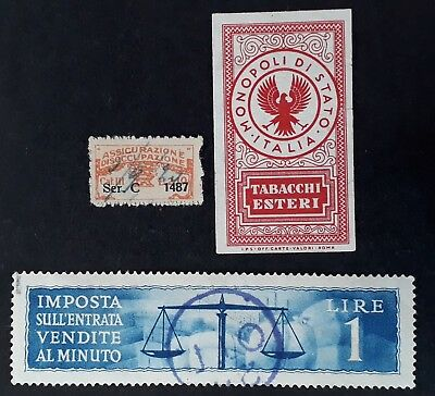 RARE Italy lot of 3 Sales, Insurance and  Tax revenue stamps Mint & Used