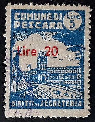 RARE c. 1950 Italy Town of Pescara 20L on 5L blue Admin Fee Revenue stamp