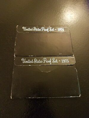 1974S  &  1975S  US Mint Proof Coin Sets With Original Box Sleeves