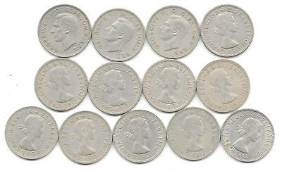 British 1/2 Crown Coins - Lot Of 13 Different Dates - Free Shipping  (Cns 1284)