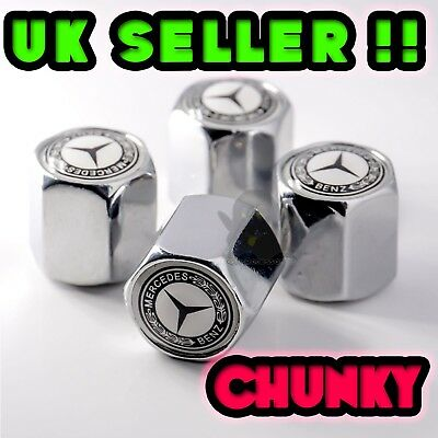 4 x Chrome White Tyre Valve Dust Caps (Fits Mercedes Benz) Set of 4 Alloy Wheel