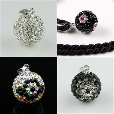 New Sparkle Czech Crystal Round Disco Ball S925 Silver Pendant 14mm for Necklace