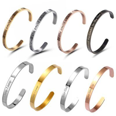 Stainless Steel Engraved Silver Letter Open Bracelet Bangle Fashion Jewelry Gift