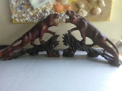 carving two tigers or jaguars solid wood