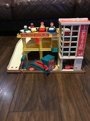 Vintage Fisher Price Little People Garage With Cars & Figures Working Bell Ramp