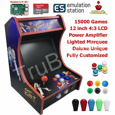 Mini Bartop Arcade Game Machine Cabinet Raspberry Pi B+ Retro Game Console 64GB