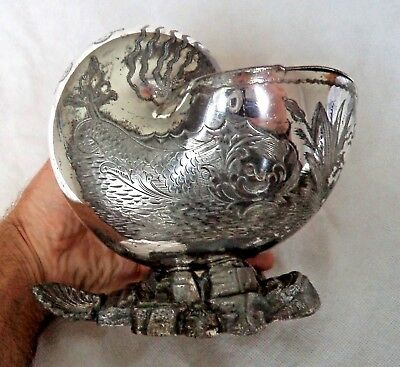 LARGE VICTORIAN c1880 SILVER PLATE NAUTILUS SHELL SEA MONSTER SPOON WARMER
