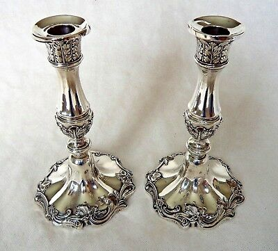Pair William Iv 1837 Acantus Sterling / Solid Silver Pair Candlesticks