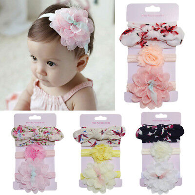 3PCS Infant Kids Floral Headband Hair-Girl baby Bowknot Accessories Hairband Set