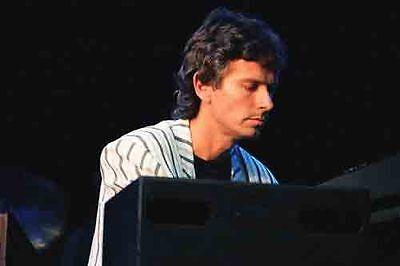 """12""""*8"""" concert photo of Tony Banks of Genesis playing at Wembley in 1987"""