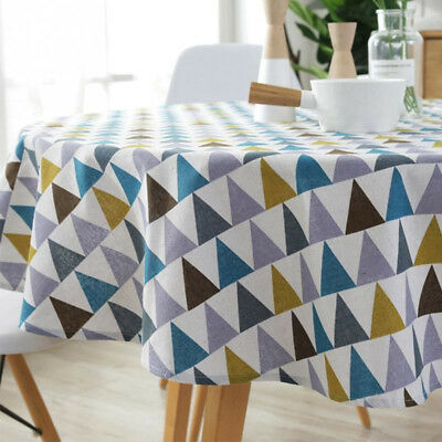 Table Cloth Wear- Resistin Colorful Cotton Blend Linen Round Table Cloth Floral