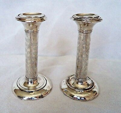 PAIR GEORGE V c1920 STERLING / SOLID SILVER CANDLESTICKS