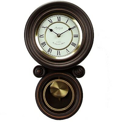 Bedford Clock Collection Contemporary Round Wood Wall Clock W/T Pendulum New