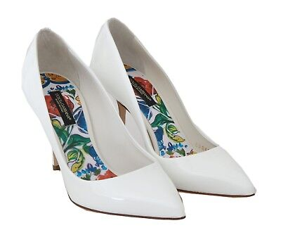 99441da7163fb NEW $660 DOLCE & GABBANA Shoes Heels Pumps White Patent Leather s ...