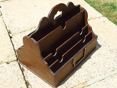 Vintage Antique Wooden Two Sided Double Letter Rack Holder Old Lloyds Of London