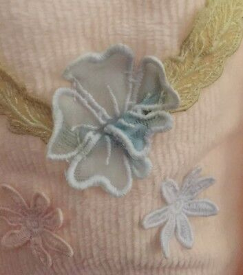 WACOAL JAPAN Chenille Robe Vtg Bathrobe Organza Appliqué Flowers LARGE Cream