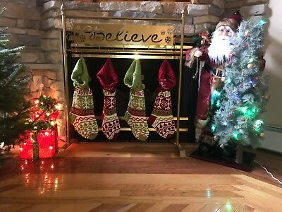 Gold Metal Freestanding BELIEVE Christmas Stocking Holder Hanger Stand Holiday