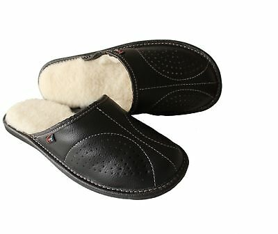 Mens Sheepskin Slippers Mule Slip On Shoe Black Leather Wool Size 7-13 Moccasin
