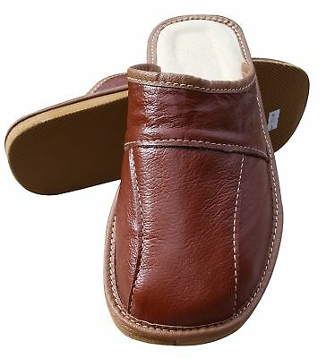 Mens Leather Slippers Slip On Shoes Size 6.5 7.5 8 9 9.5 10.5 11 UK Mules