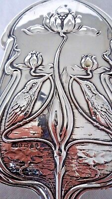 Stunning Art Nouveau 1910 Kingfisher Sterling Solid Silver Dressing Table Brush