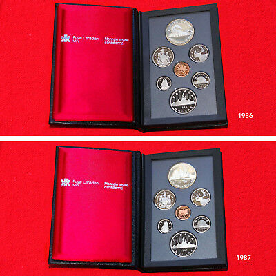 1986 & 1987 Canada Proof Double Dollar Prestige Sets (2 Sets) (14 Total Coins)
