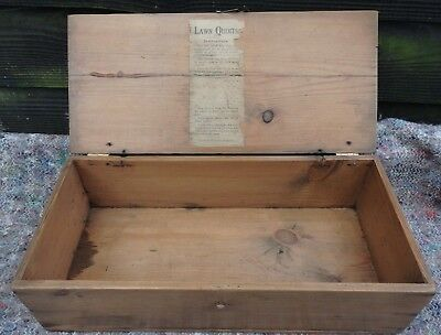 Vintage Small Pine Box with Lawn Quoits Instruction Label